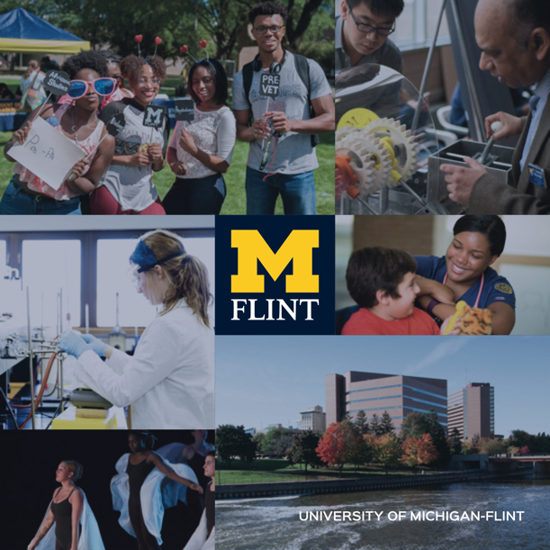 Image from a viewbook for the University of Michigan-Flint showing photos of the Flint campus and students on campus.