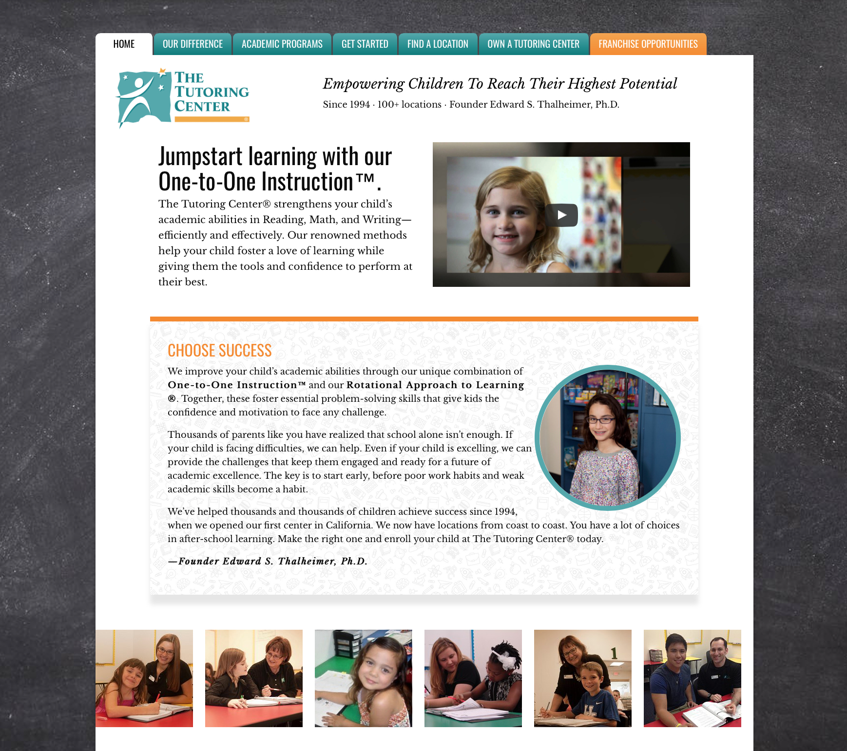 Homepage of The Tutoring Center