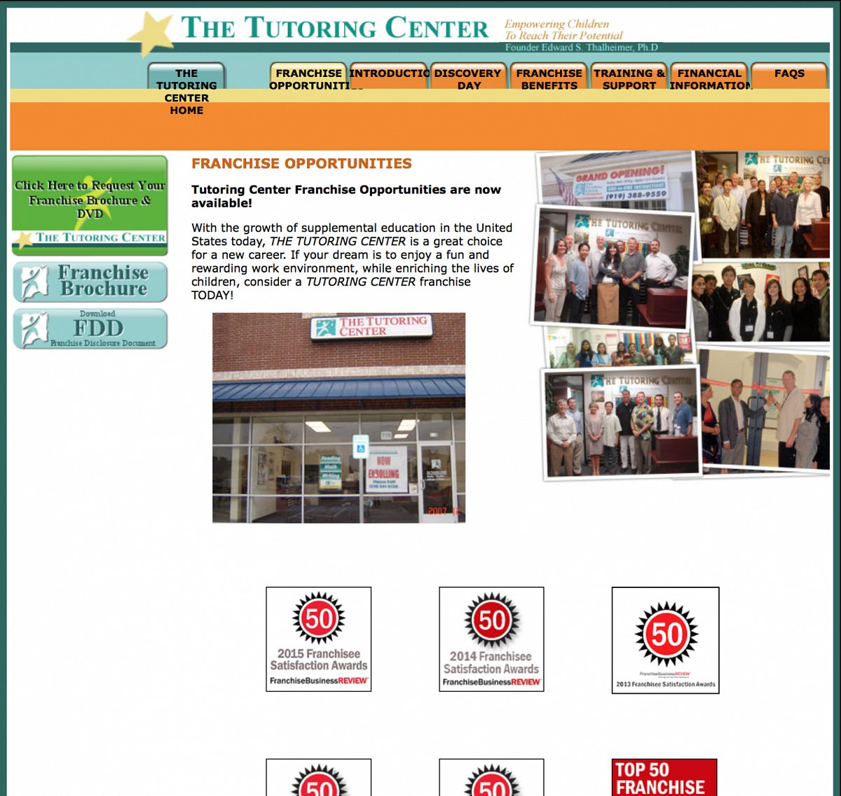 Previous franchise landing page for The Tutoring Center